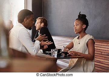 occupé, femme, africaine, café, réunion, avoir, homme