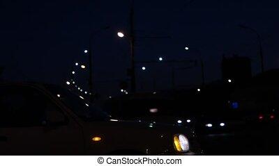 occupé, fhd, mouvement rapide, night., voitures, beaucoup, route