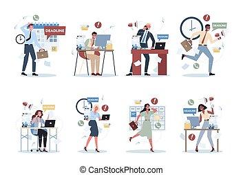 occupé, gens, lot, style de vie, travail bureau, set., date limite