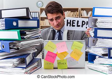 occupé, homme affaires, demander, pour, aide, à, travail