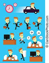 occupé, homme affaires, jour, hâte
