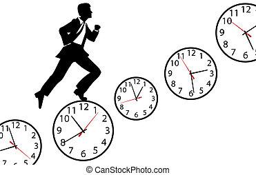 occupé, horloge, travail, haut, hâte, jour, homme