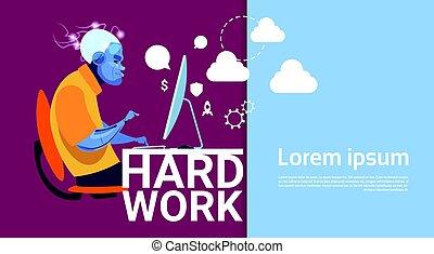 occupé, informatique, business, fonctionnement, espace, travail dur, concept, robotique, copie, bannière, homme