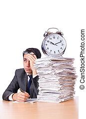 occupé, isolé, papiers, blanc, pile, homme