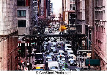 occupé, métro, chicago, voitures, rue, manière