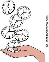 occupé, main, personne, clocks, temps, sauver