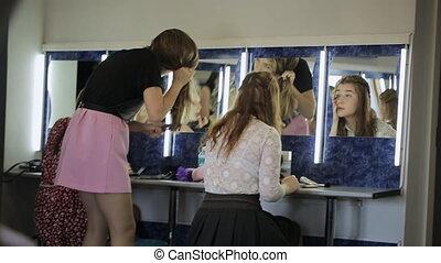 occupé, modèles, photo, préparation, room., séance, assaisonnement