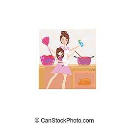 occupé, simultanément, autour de, beaucoup, house., jeune, tâches, mère