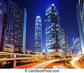 occupé, trafic, dans, hong kong, soir