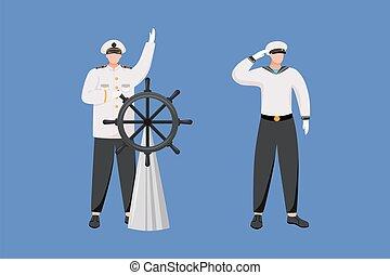 occupation., 套间, 职业, 矢量, 隔离, 卡通漫画, liner., 陆战队, 蓝色, illustration., 上尉, seafarer, 导航者, 背景, 巡航, 海, 性格, helm.