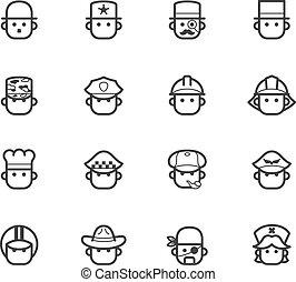 occupation black icon set 1