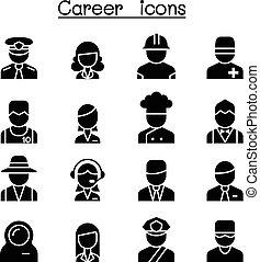 occupation, carrière, ensemble, profession, icône