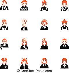 occupation, ensemble, icône