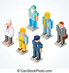 People Occupations, isometric vector icons of chef, policeman, surgeon, builder, businessman and engineer