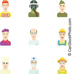 Occupation icons set, cartoon style