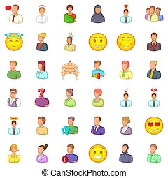 Occupation icons set, cartoon style - Occupation icons set....