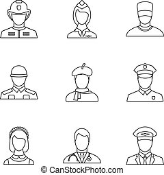 Occupation icons set, outline style
