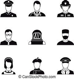 Occupation icons set, simple style