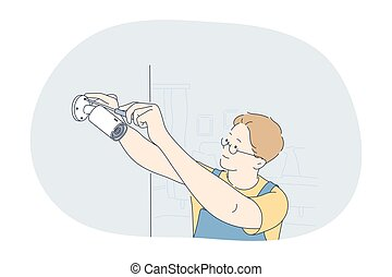 Occupation, job, manual worker concept. Man professional worker repairman in working uniform cartoon character fixing surveillance camera with screwdriver. Job, specialist working sphere illustration