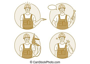 Occupation, job, manual worker concept. Man professional worker repairman in working uniform cartoon character holding wrench and drill in hand and showing thumb up sign with hands