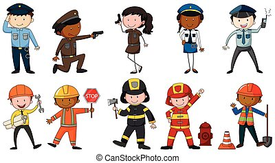 Set of men and woman in different job costumes on white background