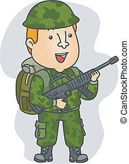 Illustration of a Man Wearing Camouflage Uniform Carrying a Rifle