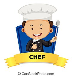 Occupation wordcard with male chef