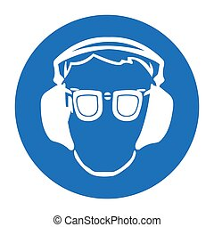 Occupational Health. icon in flat style. Mandatory means and methods of protection in the workplace. Health design, safety sign used for industrial purposes, ear and eye protection. Vector