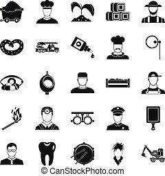 Occupational icons set, simple style - Occupational icons...