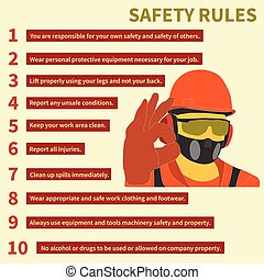 Occupational Safety and Health icons and signs set -...