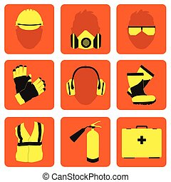 Occupational Safety and Health icons and signs set