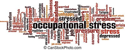 Occupational stress word cloud concept. Collage made of ...