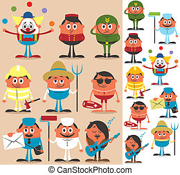 Occupations 2 - Set of cartoon characters of different...