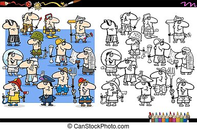 occupations coloring book - Cartoon Illustration of...