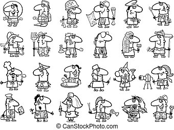 occupations set coloring page - Black and White Cartoon...