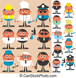 Set of cartoon characters of different occupations. No transparency and gradients used.