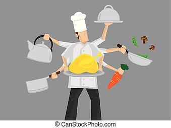 occupato, chef, cartone animato, vettore, illustrazione
