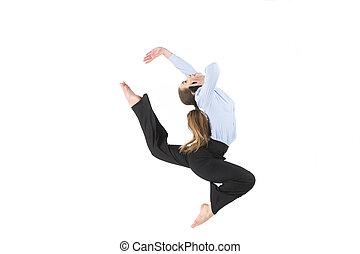 occupato, donna, pose., telefono, yoga, isolato, imprenditore, irreale, proposta, bianco