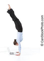 occupato, donna, pose., yoga, isolato, quaderno, imprenditore, irreale, proposta, bianco
