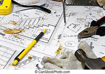 occupato, hobby, workbench., differente, carpentiere, tools:, sega, hummer, metro a nastro, pinze, ara, dire bugie, in, il, sega, polvere, sopra, il, cianografie, e, disegni, lungo, con, viti, matita, e, protettivo, gloves.