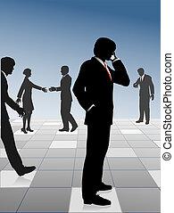 occupato, persone affari, rete, &, collegare, su, griglia