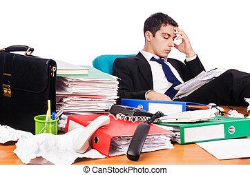 occupato, suo, giovane, uomo affari, scrivania