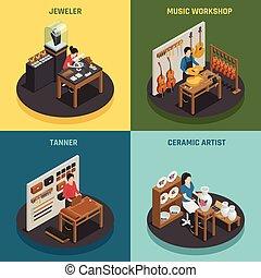 occupazione, concetto, disegno, artigiano, 2x2