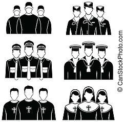 occupazione, set, icona