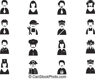 occupazione, set, icone