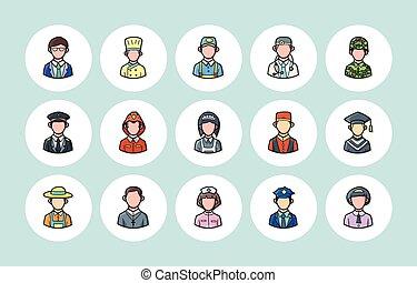 occupazioni, set, persone, icone
