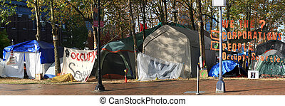 Occupy Seattle Tent City - Occupy Seattle sign on left side...