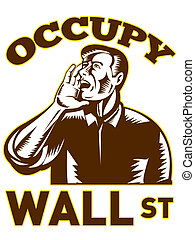 Occupy wall street - illustration of American people ...