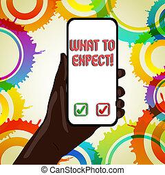 occur., wat, tekst, het tonen, achting, over, meldingsbord, expect., waarschijnlijk, vragen, iets, foto, conceptueel, happen