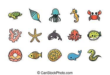 oceán, a, mořský, ikona, dát
